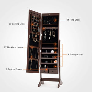 Amazon mecor jewelry armoire led standing mirrored jewelry cabinet organizer storage lockable full length mirror makeup box w 2 drawers 5 shelves 3 adjustable angle brown