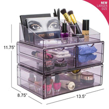 Load image into Gallery viewer, Heavy duty sorbus acrylic cosmetics makeup and jewelry storage case x large display sets interlocking scoop drawers to create your own specially designed makeup counter stackable and interchangeable purple