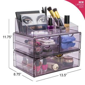 Heavy duty sorbus acrylic cosmetics makeup and jewelry storage case x large display sets interlocking scoop drawers to create your own specially designed makeup counter stackable and interchangeable purple