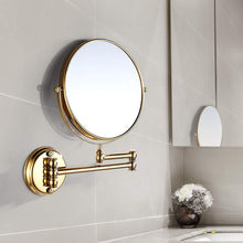 Load image into Gallery viewer, Great makeup mirror wall mount 8 inch dual side with 1x 5x magnification bathroom magnifying mirror two side 360 swivel cosmetic face mirror extendable vanity mirrors luxury brass gold marmolux acc