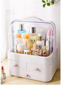 Discover the best fazhen dust proof makeup organizer cosmetic and jewelry storage with dustproof lid display boxes with drawers for vanity skin care products rack dressing table desktop finishing box l