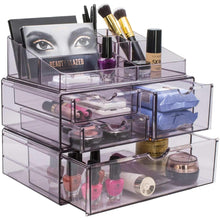 Load image into Gallery viewer, Home sorbus acrylic cosmetics makeup and jewelry storage case x large display sets interlocking scoop drawers to create your own specially designed makeup counter stackable and interchangeable purple