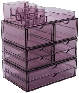 Home sorbus acrylic cosmetics makeup and jewelry storage case x large display sets interlocking scoop drawers to create your own specially designed makeup counter stackable and interchangeable purple 1