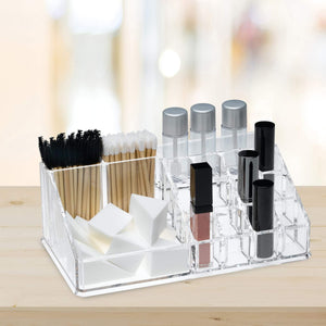 Related acrylic makeup organizer and holder storage for make up brushes lipstick and cosmetic supplies fits on counter top vanity or desk clear