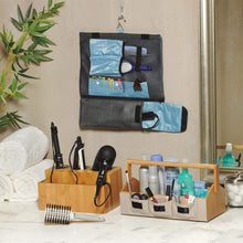 Load image into Gallery viewer, Top rated g u s bamboo countertop vanity organizer for makeup toiletries shampoos with portable handle and set of 3 bins 15 75 wide