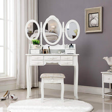 Load image into Gallery viewer, Heavy duty honbay trifold mirrors makeup vanity table set cushioned stool and surprise gift makeup organizer with 7 drawers dressing table white