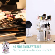 Load image into Gallery viewer, Storage organizer makeup organizer acrylic cosmetic organizer vanity and rotating makeup storage perfume organizer with large capacity fit cosmetics perfume brush and more for countertop bathroom and bedroom