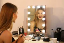 Load image into Gallery viewer, Order now hollywood lighted vanity makeup mirror light up professional mirror with storage 3 color lighting modes large cosmetic mirror with 12 dimmable bulbs for dressing table