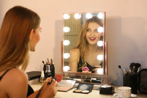Order now hollywood lighted vanity makeup mirror light up professional mirror with storage 3 color lighting modes large cosmetic mirror with 12 dimmable bulbs for dressing table