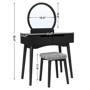 Top vasagle vanity table set with round mirror 2 large drawers with sliding rails makeup dressing table with cushioned stool black urdt11bk