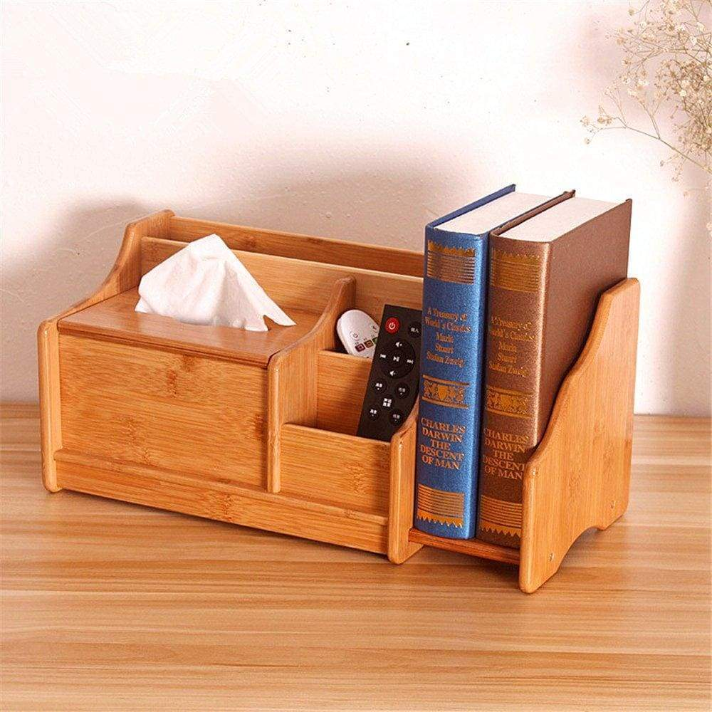 VolksRose Remote Control Holder Bamboo Desktop Organizer Natural Storage Box with Retractable Book Organizer Display Shelf Rack, 5 Compartments Holders, Book Ends and Facial Tissue Box #5