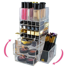 Load image into Gallery viewer, Purchase spinning makeup organizer rotating tower acrylic all in one lipstick lip gloss makeup brush holder drawers pockets for eyeshadows compacts blushes powders perfume