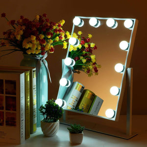 Exclusive mrah hollywood makeup vanity mirror white lighted makeup mirror tabletops lighted mirror led illuminated cosmetic mirror with led dimmable bulbs