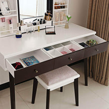 Load image into Gallery viewer, Storage organizer bewishome vanity set with mirror cushioned stool storage shelves makeup organizer 3 drawers white makeup vanity desk dressing table fst05w