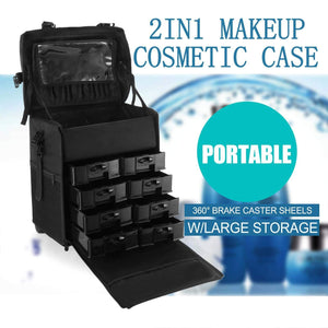 Explore happybuy 2 in 1 nylon makeup case soft with wheels travel cosmetic cases detachable professional rolling trolley makeup travel case oxford vanity portable makeup artist organizer box 2in1 case