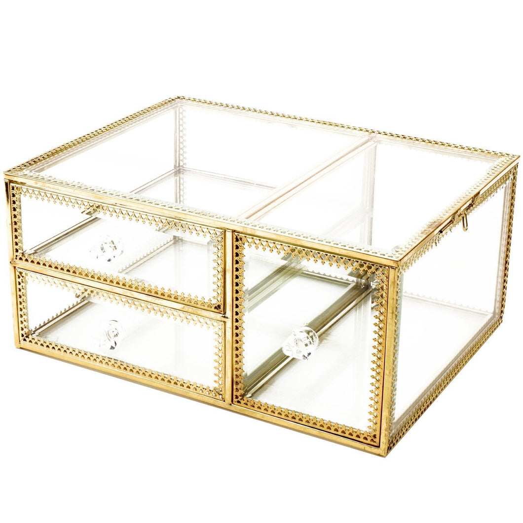 Buy antique beauty display clear glass 3drawers palette organizer cosmetic storage makeup container 3cube hoder beauty dresser vanity cabinet decorative keepsake box