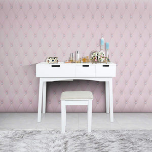 Cheap vanity table with large sized flip top mirror makeup dressing table with a cushion stool set writing desk with two drawers one small removable organizers easy assembly