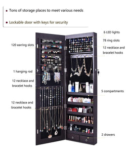 Buy now aoou jewelry organizer jewelry cabinet wall mounted jewelry organizer with mirror full length mirror large capacity dressing makeup jewery mirror jewelry armoire brown