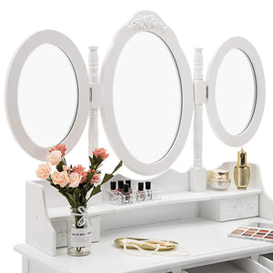 Latest honbay trifold mirrors makeup vanity table set cushioned stool and surprise gift makeup organizer with 7 drawers dressing table white