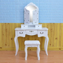 Load image into Gallery viewer, Buy azadx makeup table set tri folding mirror vanity table set dressing table organizers with cushioned stool bedroom white 5 drawer