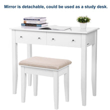 Load image into Gallery viewer, Explore songmics vanity table set with mirror and 4 drawers wooden makeup dressing table with large stool gift for women girls white urdt22wt