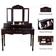 Load image into Gallery viewer, Discover homecho vanity table set with 7 drawers and 6 makeup organizers removable tri folding mirror and 8 necklace hooks with cushioned stool dark espresso hmc md 010