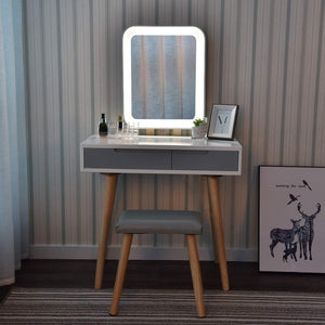 Discover the best vanity table set with adjustable brightness mirror and cushioned stool dressing table vanity makeup table with free make up organizer