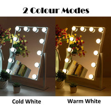 Load image into Gallery viewer, Heavy duty mrah hollywood makeup vanity mirror white lighted makeup mirror tabletops lighted mirror led illuminated cosmetic mirror with led dimmable bulbs