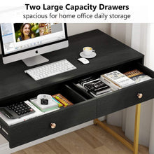 Load image into Gallery viewer, Storage tribesigns computer desk modern simple home office gold desk study table writing desk workstation with 2 storage drawers makeup vanity console table 47 inch black