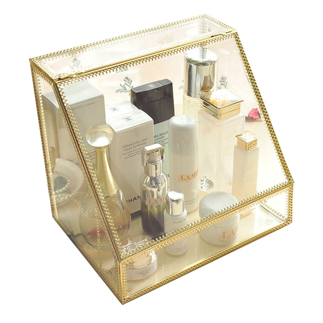 Discover the spacious palette storage stunning large glass beauty display cosmetics makeup organizer vanity holder with slanted front open lid cosmetic storage for makeup brushes perfumes skincare in gold