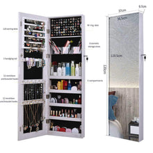 Load image into Gallery viewer, Great aoou jewelry organizer jewelry cabinet full screen display view larger mirror full length mirror large capacity dressing mirror makeup jewelry armoire jewelry mirror full length mirror white