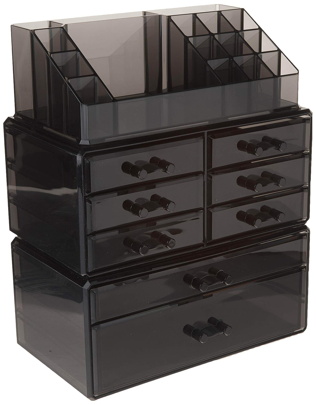 Related songmics makeup organizer 8 drawers cosmetic storage 3 pieces set jewelry display case with 16 top compartments black ujmu08b