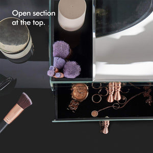 Kitchen beautify mirrored glass cosmetic makeup jewelry organizer with 3 drawers and makeup brushes section includes glass cleaning cloth and rose gold handles