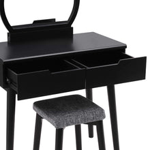 Load image into Gallery viewer, Top rated vasagle vanity table set with round mirror 2 large drawers with sliding rails makeup dressing table with cushioned stool black urdt11bk