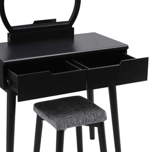 Top rated vasagle vanity table set with round mirror 2 large drawers with sliding rails makeup dressing table with cushioned stool black urdt11bk