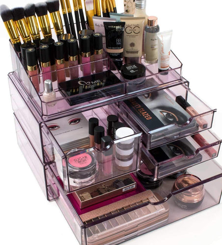 Get sorbus acrylic cosmetics makeup and jewelry storage case x large display sets interlocking scoop drawers to create your own specially designed makeup counter stackable and interchangeable purple