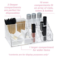 Load image into Gallery viewer, Results acrylic makeup organizer and holder storage for make up brushes lipstick and cosmetic supplies fits on counter top vanity or desk clear