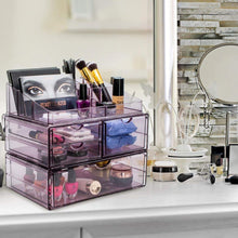 Load image into Gallery viewer, Latest sorbus acrylic cosmetics makeup and jewelry storage case x large display sets interlocking scoop drawers to create your own specially designed makeup counter stackable and interchangeable purple