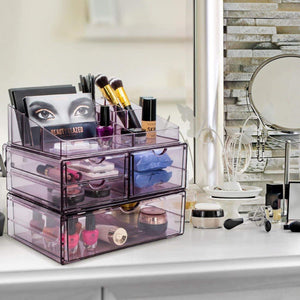 Latest sorbus acrylic cosmetics makeup and jewelry storage case x large display sets interlocking scoop drawers to create your own specially designed makeup counter stackable and interchangeable purple