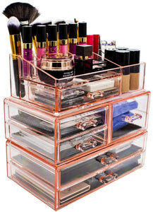 Shop for sorbus acrylic cosmetics makeup and jewelry storage case display sets interlocking drawers to create your own specially designed makeup counter stackable and interchangeable pink