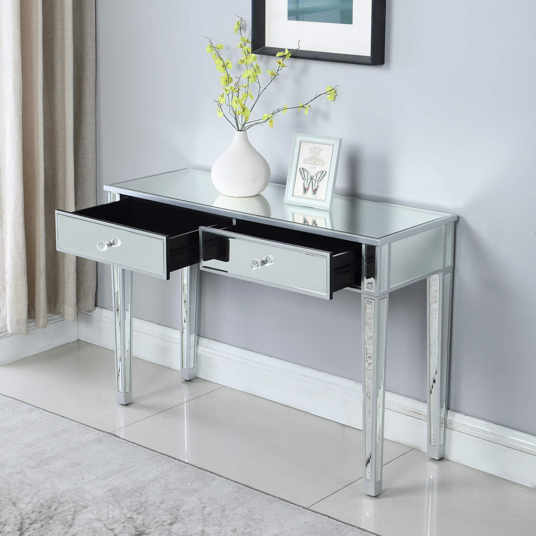 Latest mirrored 2 drawer media console table ga home makeup table desk vanity for women home office writing desk smooth matte silver finish with faux crystal knobs