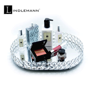 The best lindlemann mirrored crystal vanity tray ornate decorative tray for perfume jewelry and makeup oval 14 x 10 inches silver