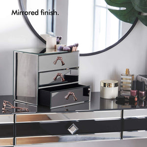Heavy duty beautify mirrored glass cosmetic makeup jewelry organizer with 3 drawers and makeup brushes section includes glass cleaning cloth and rose gold handles