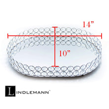 Load image into Gallery viewer, Top lindlemann mirrored crystal vanity tray ornate decorative tray for perfume jewelry and makeup oval 14 x 10 inches silver