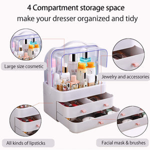 Get fazhen dust proof makeup organizer cosmetic and jewelry storage with dustproof lid display boxes with drawers for vanity skin care products rack dressing table desktop finishing box l