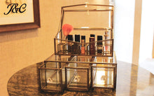 Load image into Gallery viewer, Shop here antique large 4 tier clear glass with brass metal cosmetic makeup storage cube organizer with 6 drawers each of which can be used individually by jc 4set