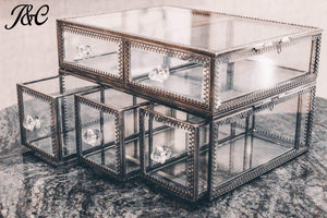 Storage antique large 4 tier clear glass with brass metal cosmetic makeup storage cube organizer with 6 drawers each of which can be used individually by jc 4set