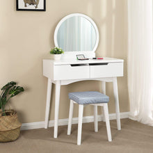 Load image into Gallery viewer, Select nice vasagle vanity table set with round mirror 2 large drawers with sliding rails makeup dressing table with cushioned stool white urdt11w