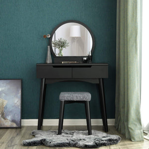 Best vasagle vanity table set with round mirror 2 large drawers with sliding rails makeup dressing table with cushioned stool black urdt11bk
