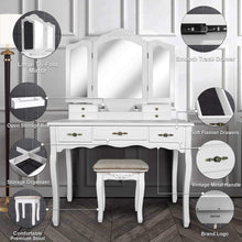 Load image into Gallery viewer, Shop for vanity beauty station large tri folding necklace hooked mirrors 6 organization 7 drawers makeup dress table with cushioned stool set white